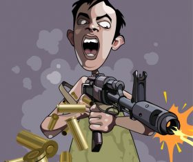 cartoon caricature of an emotional man fires a gun vector