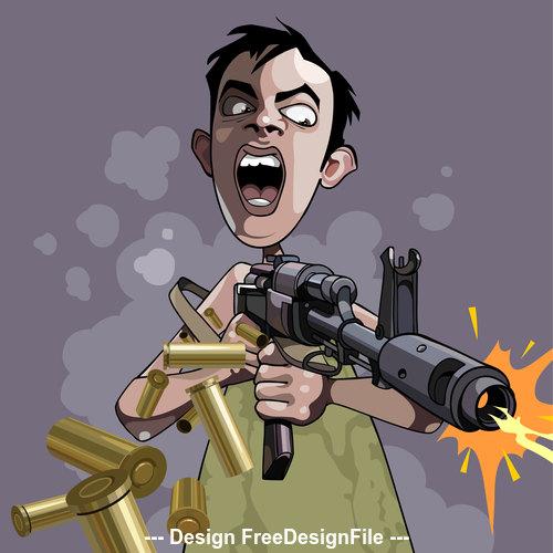 cartoon caricature of an emotional man fires a gun vector