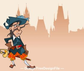 cartoon funny character puzzled soldier musketeer vector