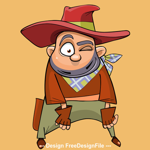 cartoon funny man in the clothes of a cowboy vector