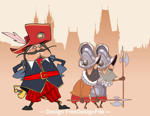 cartoon funny soldier the Musketeer and the guards vector