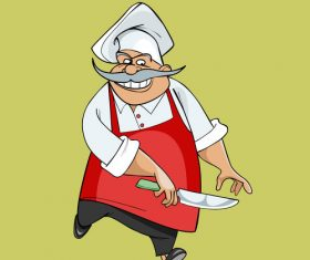 cartoon happy chef jumping with a knife in his hand vector