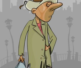 cartoon homeless man in a tattered coat with bag in hand vector