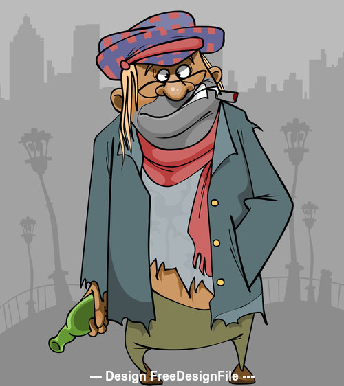 cartoon homeless man in ragged clothes with a bottle and a cigarette vector