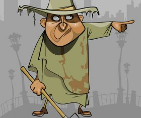 cartoon man in dirty ragged clothes with a shovel pointing in the direction vector