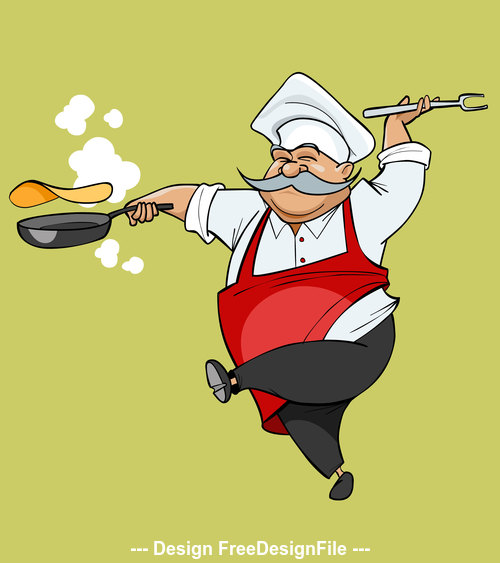 cartoon mustachioed chef joy jumping with a frying pan vector