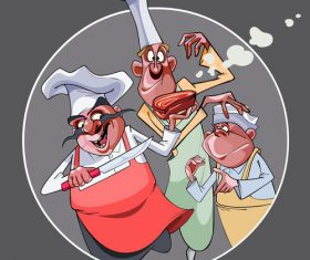 cartoon three funny cooks prepared food vector