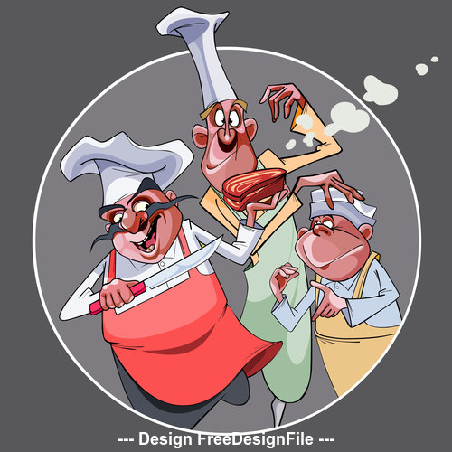 cartoon three funny cooks prepared food vector