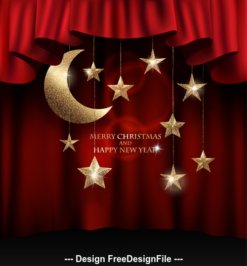 christmas background with textured gold sparkling stars and red theater curtains vector