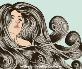 drawn flowing hair vector