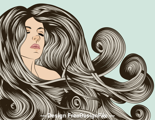 drawn flowing hair vector