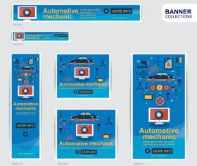 mechanic Automotive  banner advertising templates design vector