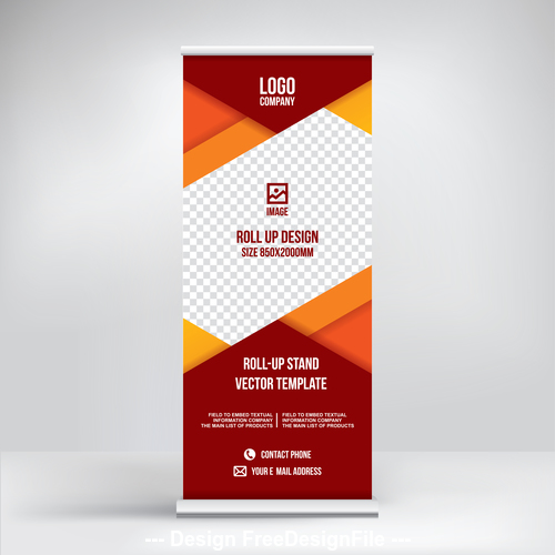 roll up banner design stand vector