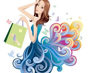 shopping woman cloud vector