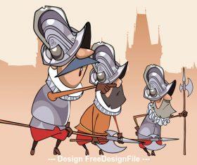 three cartoon characters funny guards vector