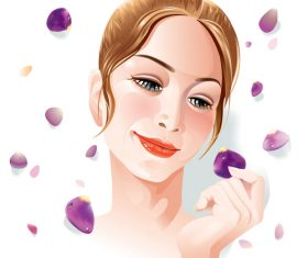 woman face flower vector