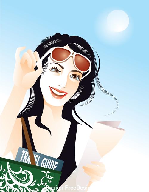 woman travel brush vector