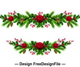 2020 Christmas day decorative wreath template vector 01