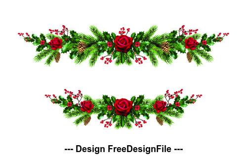 2020 Christmas day decorative wreath template vector 01
