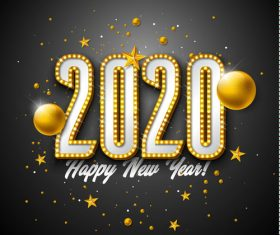 2020 Happy New Year 3D Golden Numbers Vector