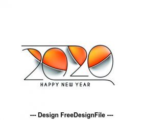 2020 Happy New Year abstract text design vector