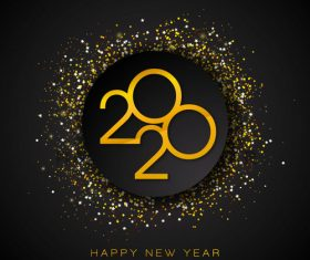 2020 Happy New Year round confetti vector