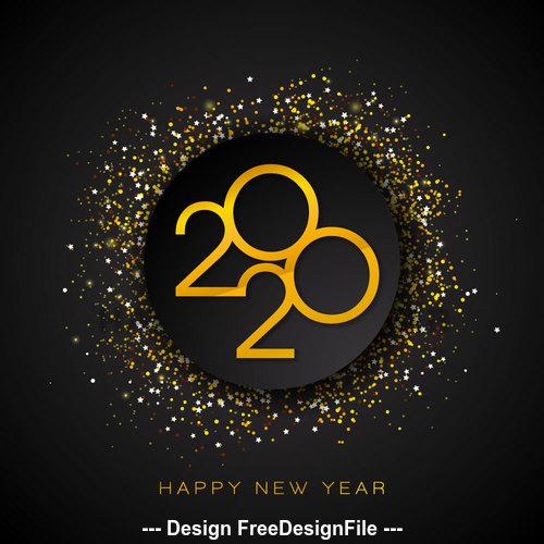 2020 Happy New Year round confetti vector