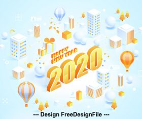 2020 Happy new year concept illustration vector