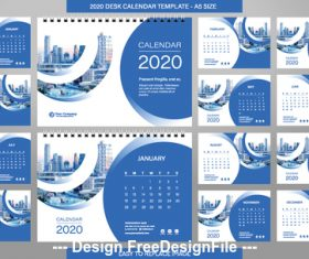 2020 New Year desk calendar template vector
