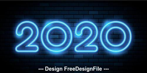 2020 blue neon greeting card backgrounds vector