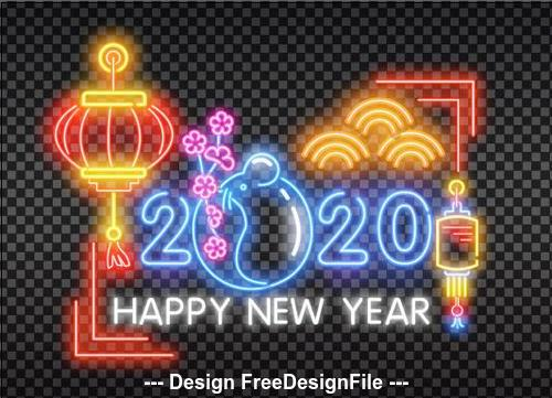 2020 color neon greeting card backgrounds vector