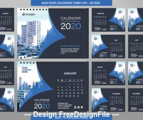 2020 desk calendar template vector