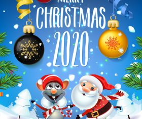 2020 happy christmas cartoon greeting card vector