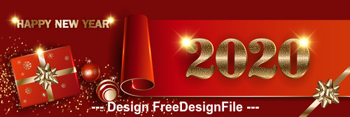2020 happy new year red banner vector