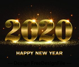 2020 happy new year template vector