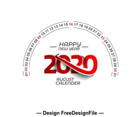 2020 happy new year text design vector