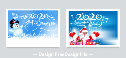 2020 merry christmas greeting card vector