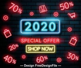 2020 neon greeting card backgrounds vector