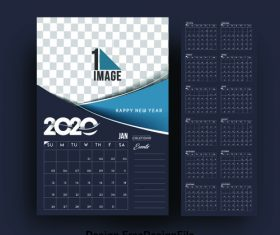 2020 new year card calendar black background vector