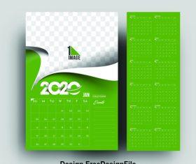 2020 new year card calendar green background vector