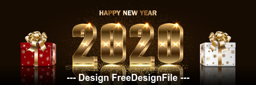 2020 new year gift background vector