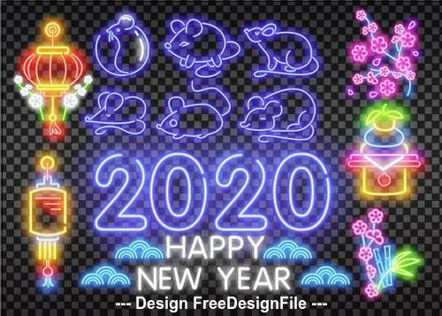 2020 new year neon greeting card backgrounds vector