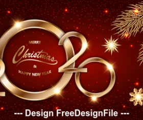 2020 new year red background greeting card vector