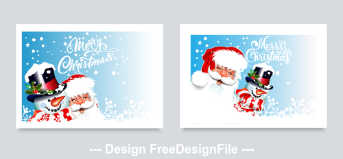 2020 santa claus and snowman greeting card vector