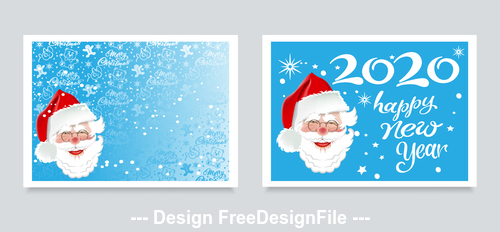 2020 santa claus greeting card vector