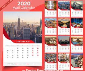 2020 wall calender ren template vector