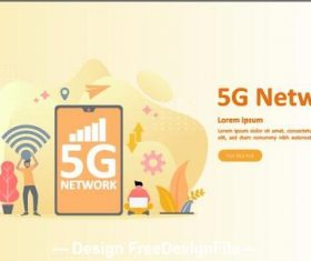5g nerwork cartoon illustration vector
