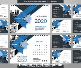A5 size new year desk calendar template vector