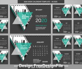 A5 size new year geometry desk calendar template vector