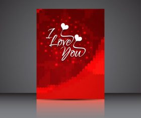 Abstract red background heart shaped brochure cover vector